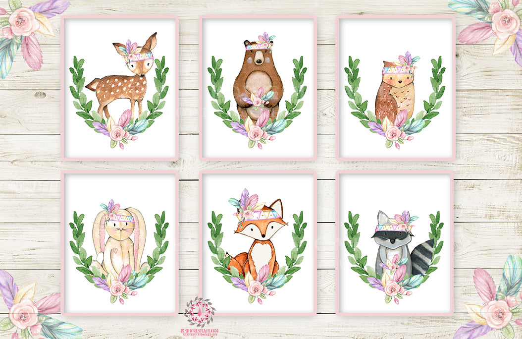 6 Deer Fox Bunny Wall Art Print Nursery Rabbit Bear Owl Raccoon Pink Purple Mint Tribal Printable Woodland Boho Bohemian Floral Baby Girl Room Set Lot Prints Home Decor