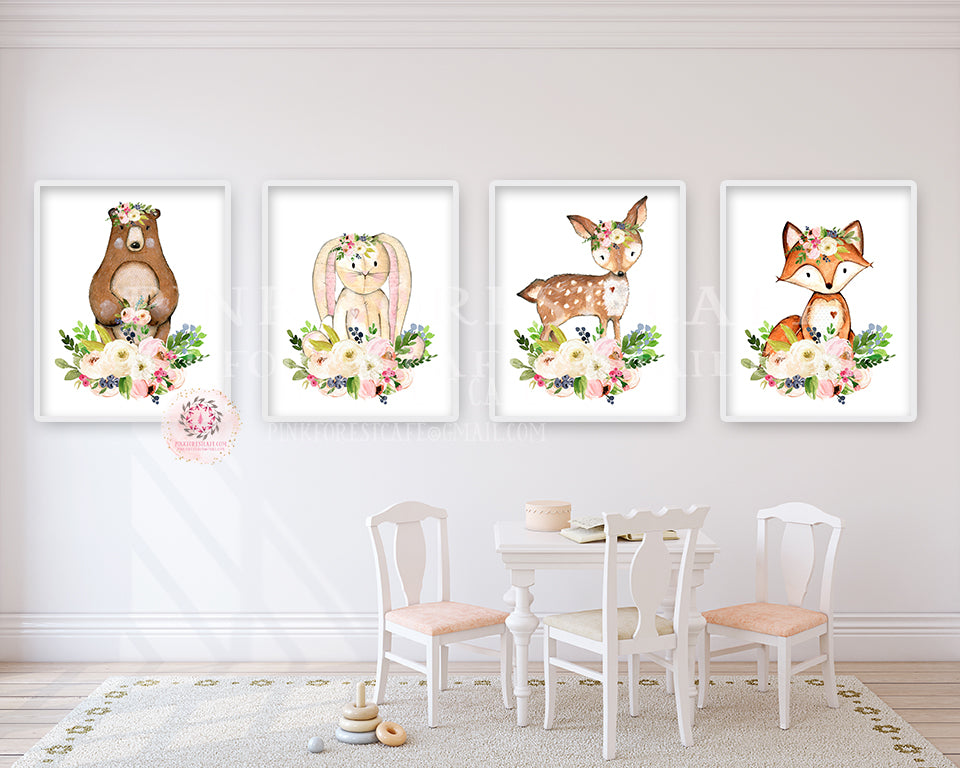 4 Deer Fox Bunny Rabbit Bear Woodland Boho Wall Art Print Nursery Set Bohemian Floral Nursery Baby Girl Room Prints Printable Decor