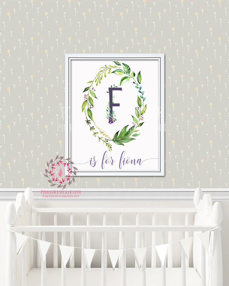 Baby Monogram Initial Personalized Watercolor Woodland Boho Watercolor Floral Nursery Printable Wall Art