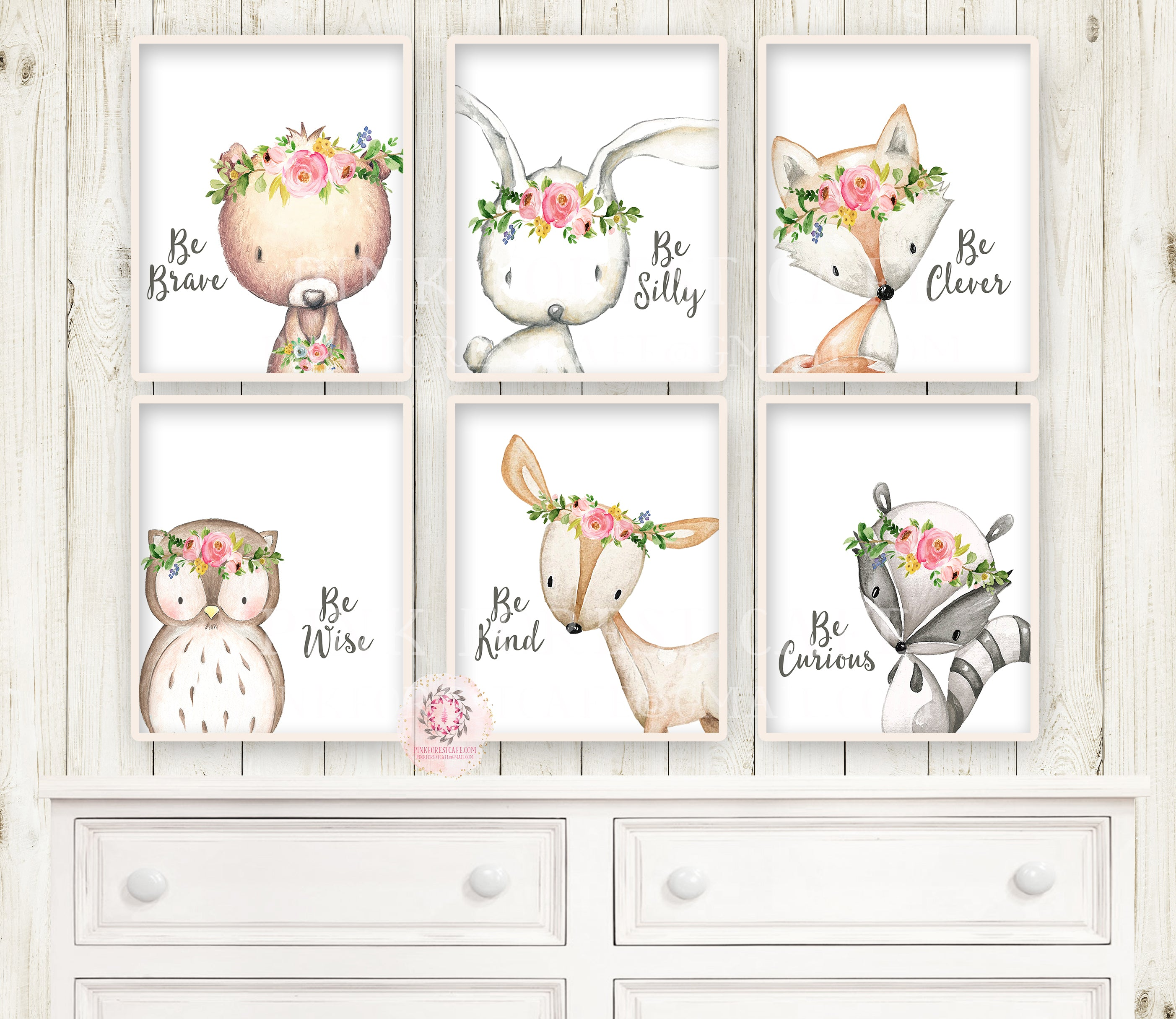 6 Deer Fox Bunny Rabbit Bear Owl Raccoon Boho Wall Art Print Woodland Bohemian Be Wise Clever Kind Brave Silly Curious Floral Nursery Baby Girl Room Set Lot Prints Printable Decor