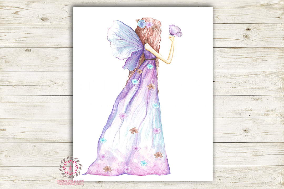 Purple Fairy Nursery Wall Art Print Ethereal Butterfly Wings Printable Watercolor Mystery Fantasy Magical Decor