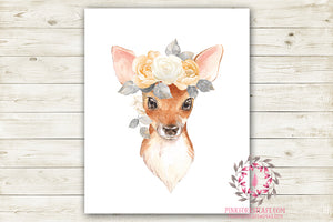 Boho Bohemian Deer Fawn Woodland Wall Art Print Floral Nursery Baby Girl Room Printable Watercolor Decor