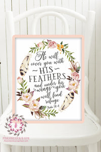 image about Psalm 91 Printable referred to as Psalm 91:4 He Will Go over Oneself With His Feathers Boho Nursery Print Wall Artwork Watercolor Boy or girl House Printable Decor
