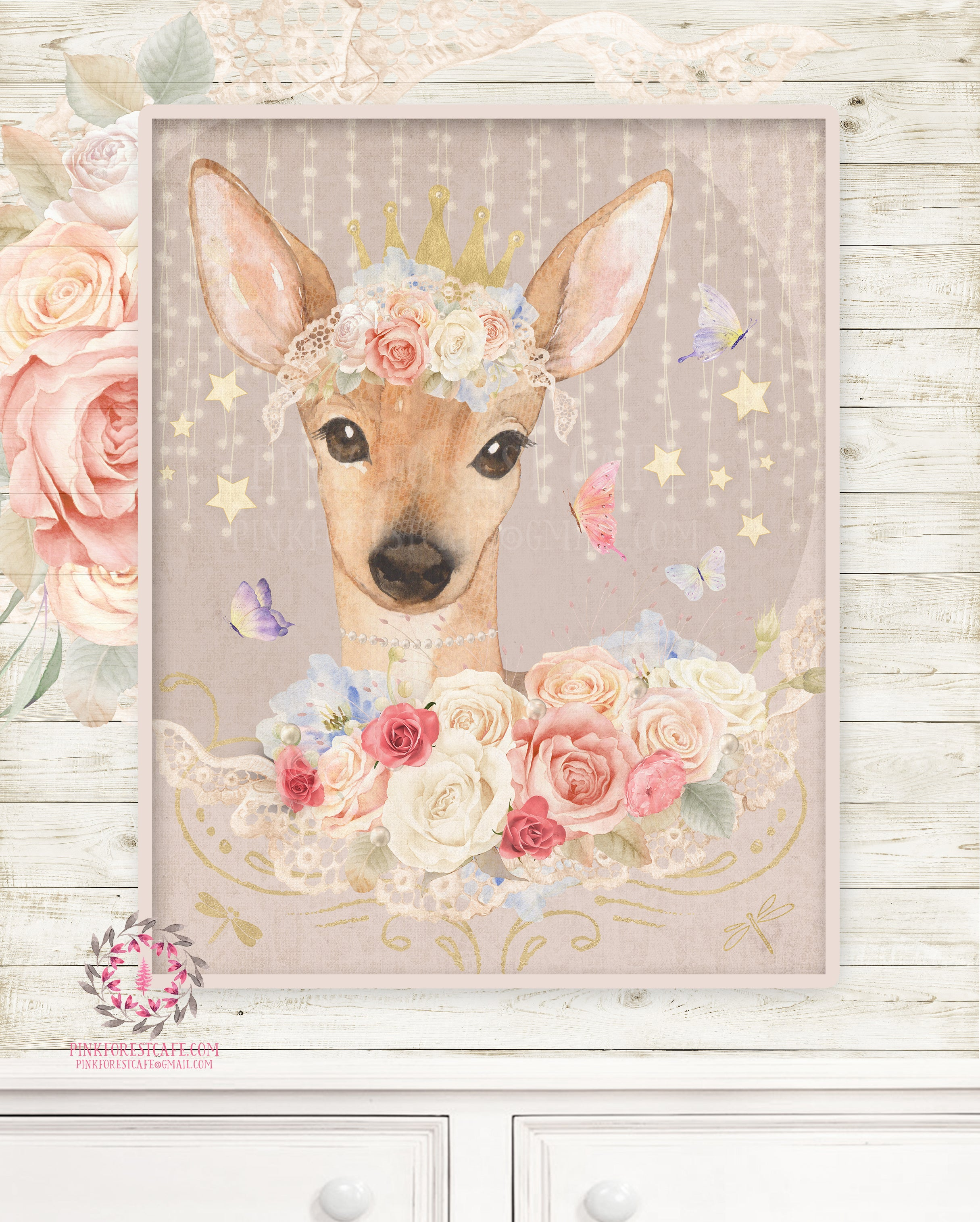 Ethereal Fiona Fawn Baby Woodland Nursery Wall Art Print Boho Deer Shabby Chic Bohemian Blush Room Kids Bedroom Home Limited Edition Decor