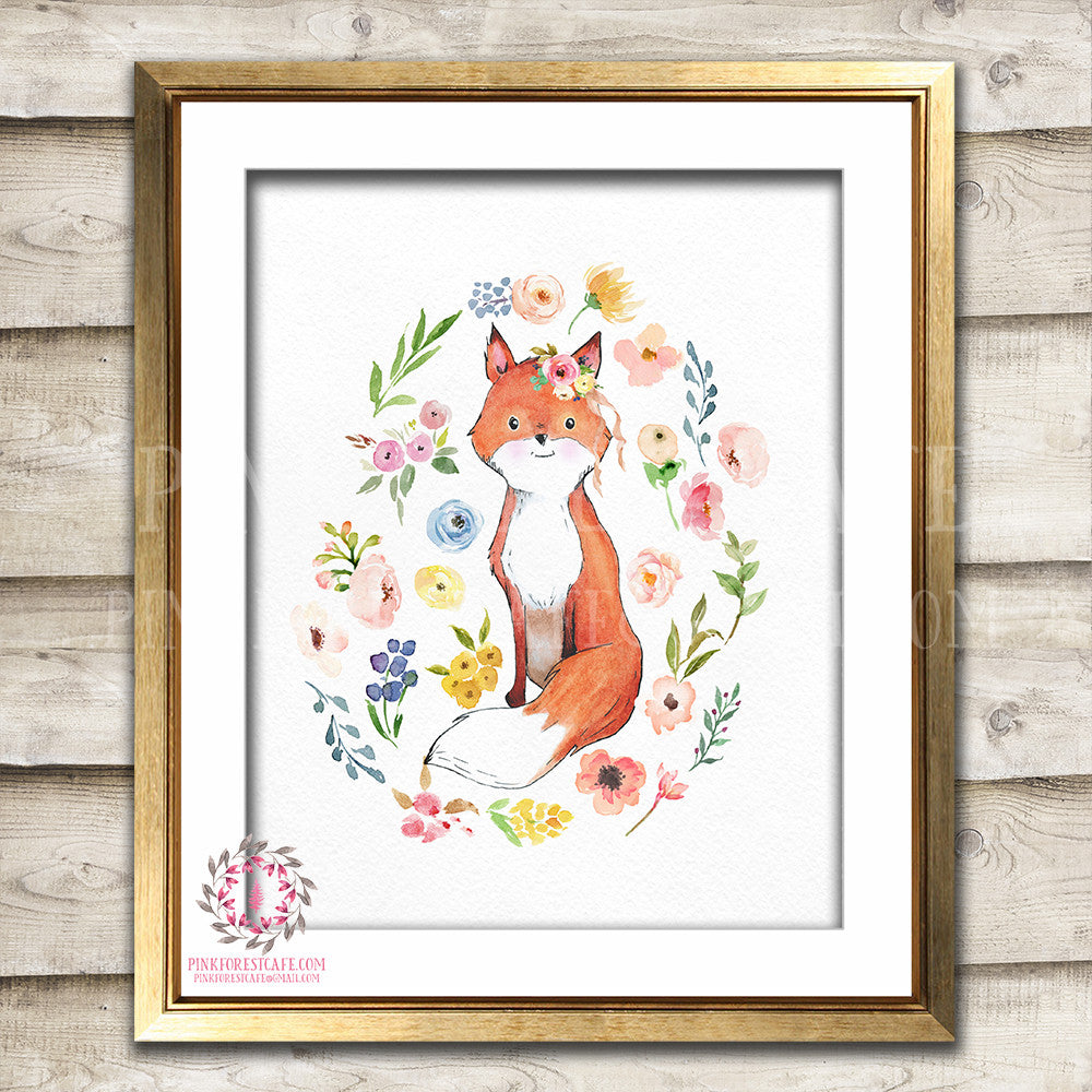 Boho Fox Watercolor Bohemian Blush Floral Woodland Nursery Baby Girl Room Printable Print Wall Art Decor