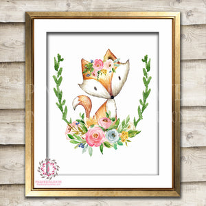 Fox Watercolor Woodland Boho Bohemian Floral Nursery Baby Girl Room Printable Print Wall Art Home Decor
