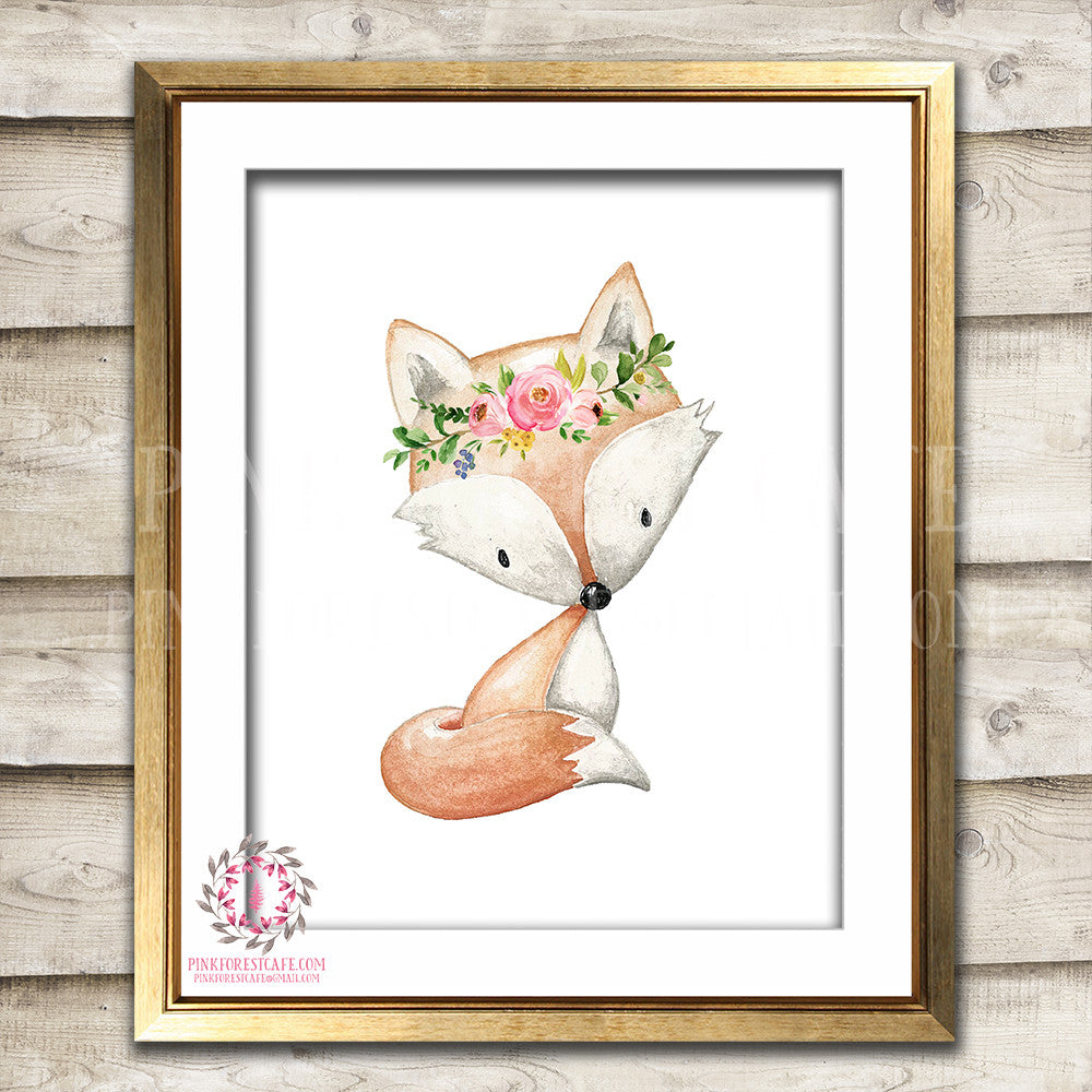 Boho Bohemian Fox Woodland Printable Wall Art Print Garden Floral Nursery Baby Girl Room Decor