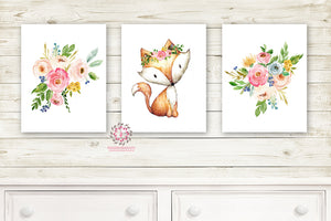 3 Fox Floral Boho Wall Art Print Woodland Bohemian Nursery Baby Girl Bedroom Set Lot Watercolor Prints Printable Decor