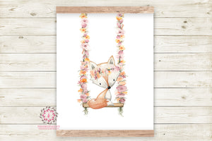 Boho Fox On Swing Wall Art Print Woodland Bohemian Floral Nursery Baby Girl Room Printable Decor