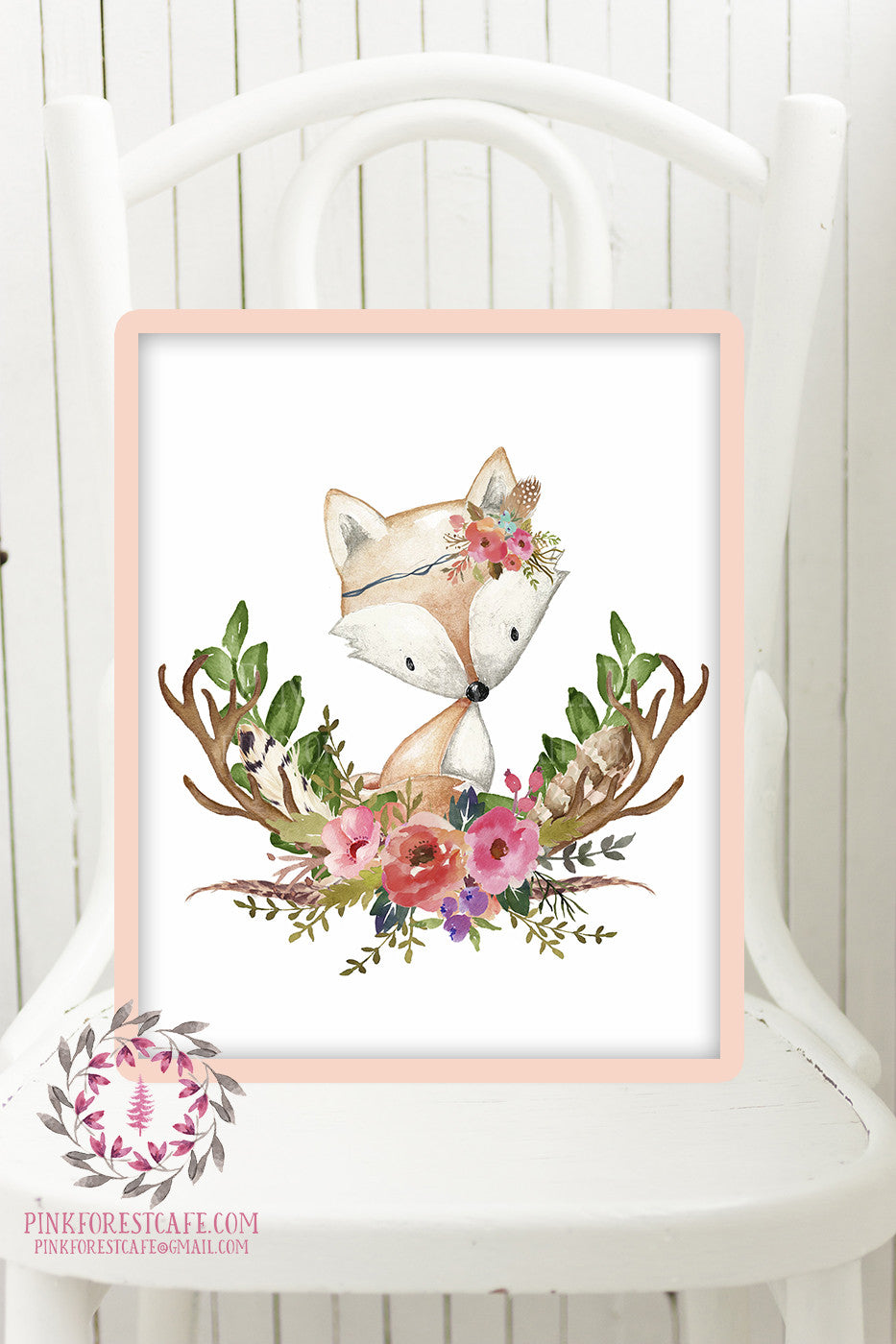 Fox Woodland Boho Printable Print Wall Art Baby Nursery Feather Antlers Watercolor Bohemian Floral Girl Room Decor