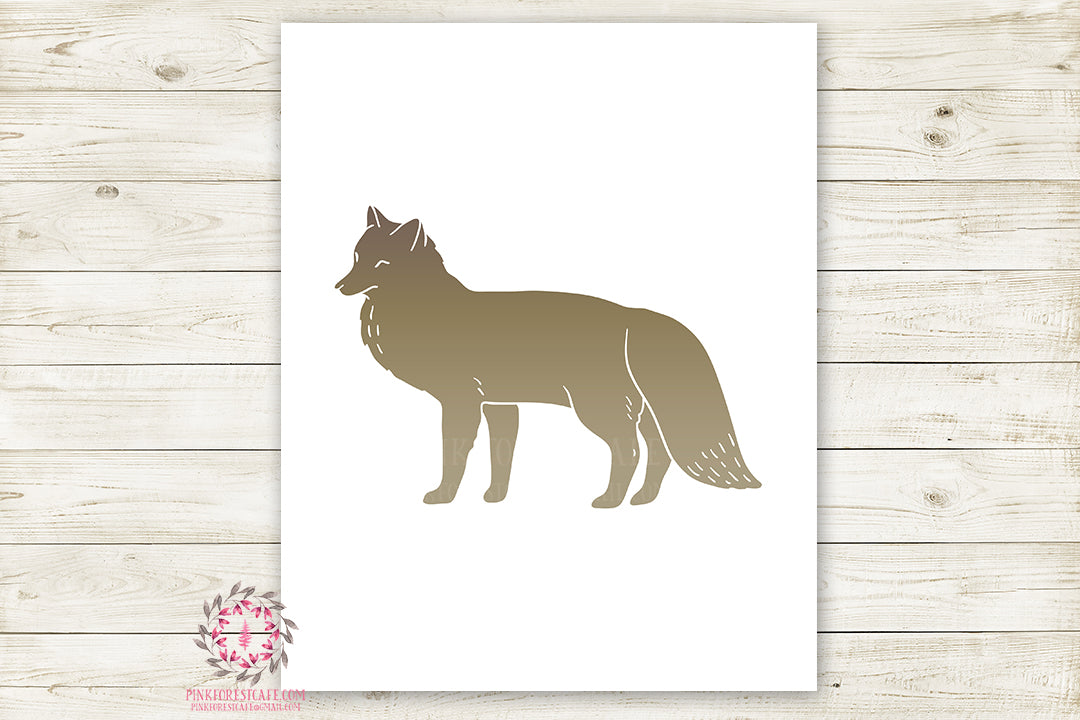 Fox Woodland Wall Art Print Baby Boy Nursery Rustic Silhouette Tribal Kids Room Printable Decor