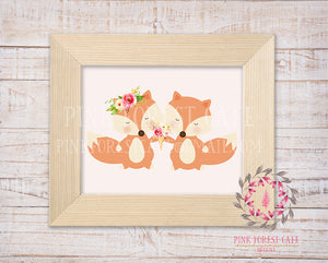 Sleepy Fox Duo Ice Cream Heart Watercolor Floral Baby Girl Room Woodland Rustic Nursery Printable Wall Poster Sign Art Stationery Card Baby Shower Room Home Decor