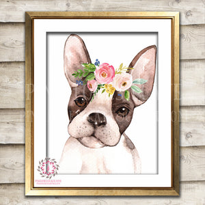 Boho Watercolor French Bulldog Frenchie Boston Terrier Bohemian Blush Floral Nursery Baby Girl Room Printable Print Wall Art Decor