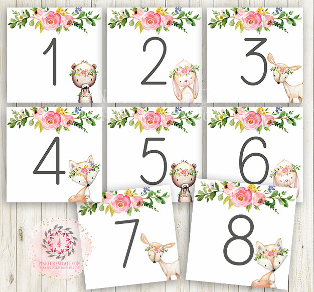 Phenomenal Boho Baby Bridal Shower Table Numbers Sign Party Deer Fox Interior Design Ideas Clesiryabchikinfo