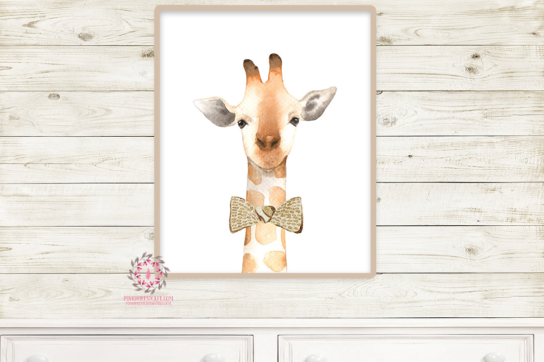 Watercolor Giraffe Wall Art Print ZOO Safari Nursery Kids Baby Boy Girl Room Playroom Poster Printable Home Decor