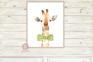Giraffe Bow Nursery Wall Art Print Safari Zoo Print Watercolor Baby Room Kids Bedroom Decor