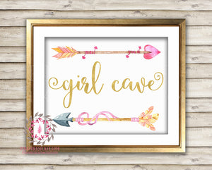 Girl Cave Boho Arrows Tribal Woodland Arrow Baby Pink Room Watercolor Printable Wall Art Nursery Print Decor