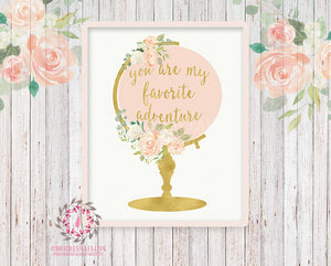Wedding Globe Nursery Boho Shabby Chic Wall Art Print You Are My Greatest Adventure Blush Gold Watercolor Flowers Floral Bohemian Baby Girl Room Kids Bedroom Decor