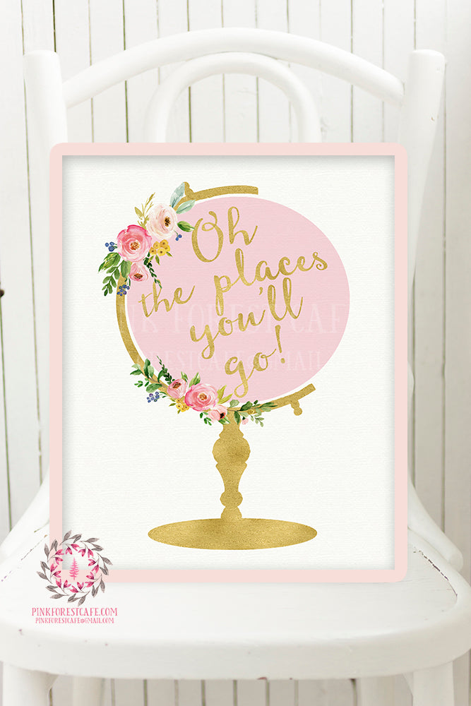 Boho Globe Nursery Wall Art Print Decor Oh The Places You'll Go Watercolor Flowers Floral Bohemian Baby Girl Room Kids Bedroom