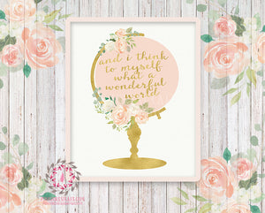 Wedding Globe Nursery Boho Shabby Chic Wall Art Print And I Think To Myself What A Wonderful World Blush Gold Watercolor Flowers Floral Bohemian Baby Girl Room Kids Bedroom Decor