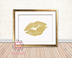Gold Glitter Lips Fashion Printable Wall Art Print Home Decor