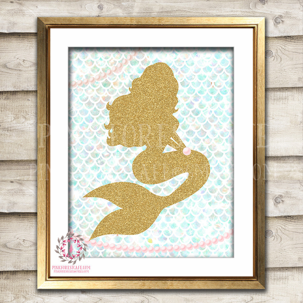 Mermaid Nautical Baby Girl Room Printable Wall Art Prints Nursery Decor Pink Gold Pearl Print