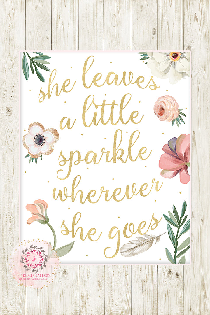 image relating to She Leaves a Little Sparkle Wherever She Goes Free Printable called Child Nursery Youngsters Place Wall Artwork Prints Printable Boho