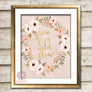 Grow Free Wild Flower Wildflower Printable Wall Art Print Baby Girl Boho Nursery Gold Blush Room Watercolor Floral Decor