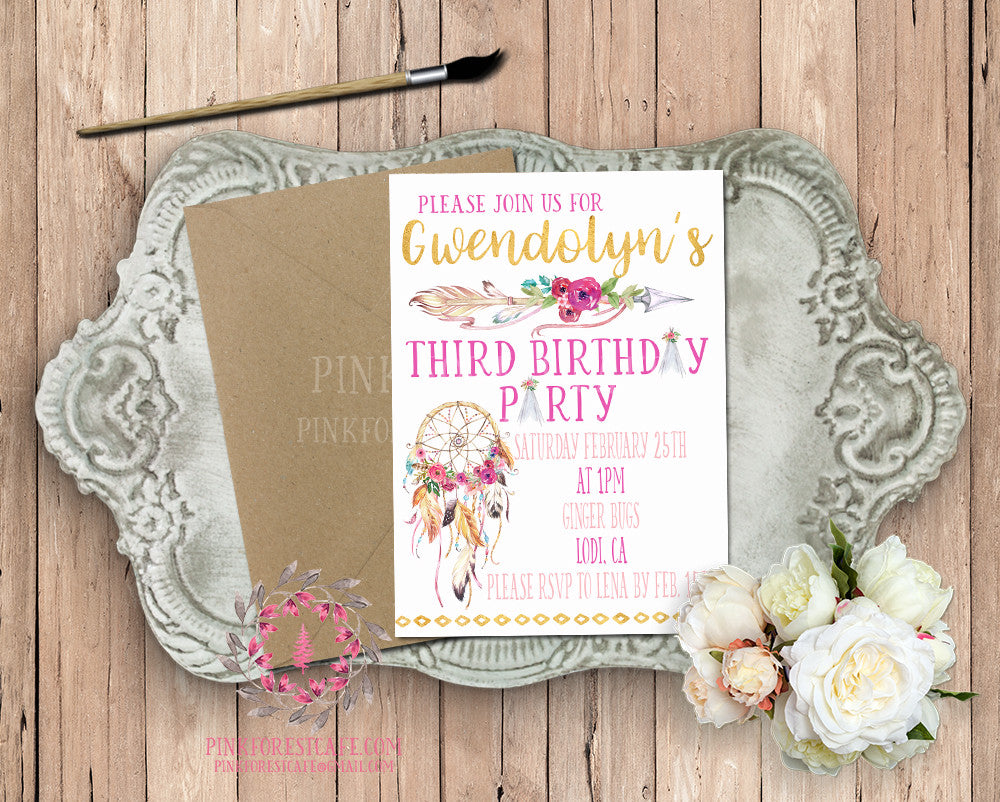 Dreamcatcher Arrow Teepee Tribal Theme Baby Bridal Shower Birthday Party Printable Invitation Invite