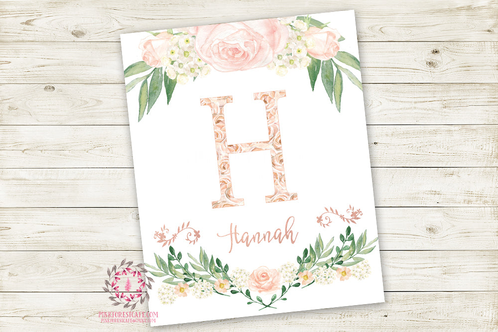 Boho Monogram Initial Personalized Wall Art Print Baby Name Watercolor Floral Shabby Chic Baby Nursery Printable Decor