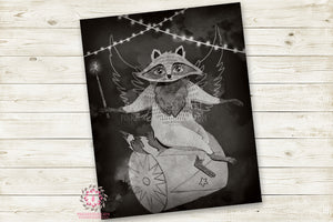 "Monochrome Fox Nursery Wall Art Print Ethereal Amusement Park Woodland Black White Circus Rustic  ""Harry Fox"" Printable Watercolor Mystery Fantasy Magical Carnival Decor"