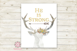 Deer Buck Antlers He Is Strong Wall Art Print Feather Tribal Woodland Baby Boy Nursery Room Woodland Printable Decor