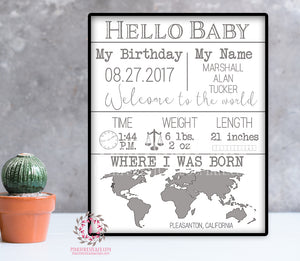 Hello Baby Birth Stats Printable Print Wall Art Scandinavian Poster Welcome To The World Nursery Kids Room Annoouncement Decor