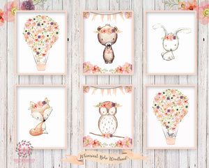 6 Deer Fox Bunny Rabbit Bear Boho Print Wall Art Woodland Nursery Baby Girl Bohemian Floral Owl Raccoon Room Prints Printable Decor