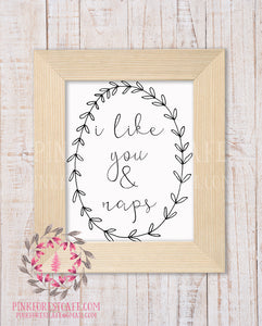 I Like You And Naps Woodland Printable Baby Boy Girl Wall Art Nursery Home Decor