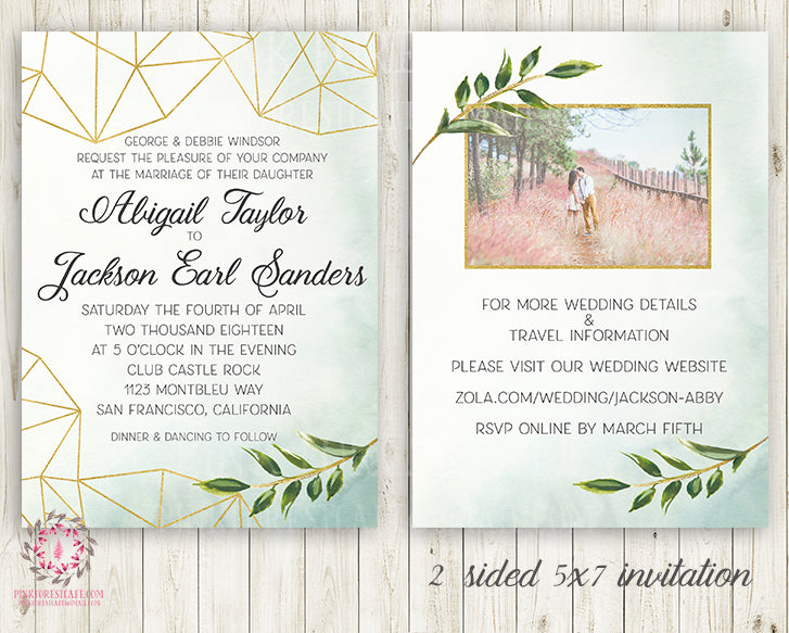 Wedding Greenery Geometric Wedding Invite Invitation Gold Green Leaves 2 Sided Watercolor Bridal Shower Save The Date Announcement Printable