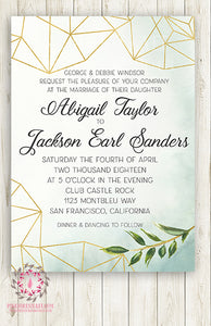 Wedding Greenery Geometric Wedding Invite Invitation Gold Green Leaves Watercolor Bridal Shower Save The Date Announcement Printable