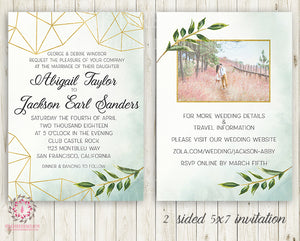 Printed Wedding Suite Greenery Geometric Wedding Invite Invitation RSVP  Reception Signs Thank You Cards Table Numbers