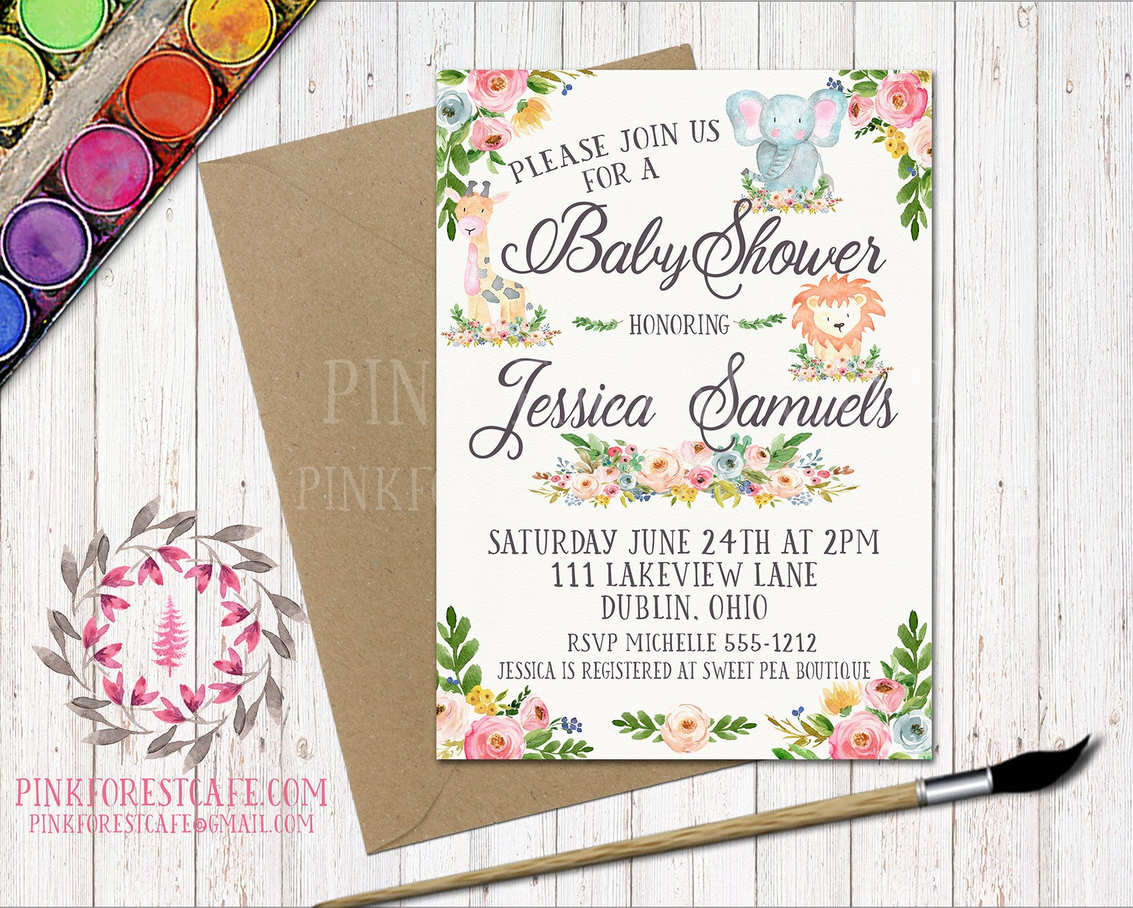 Zoo Animal Boho Baby Shower Birthday Party Invitation Announcement Elephant Giraffe Lion Invite Watercolor Floral Printable
