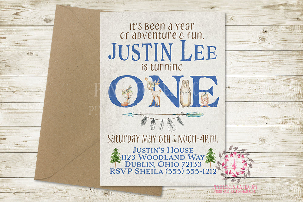 Woodland 1st First Birthday Birthday Party Invite Invitation Tribal Feather Boho Baby Boy Deer Bunny Fox Bear Watercolor Printable