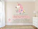 Boho Unicorn Watercolor Floral Wall Decal Sticker Matte Vinyl Baby Nursery Art Decor