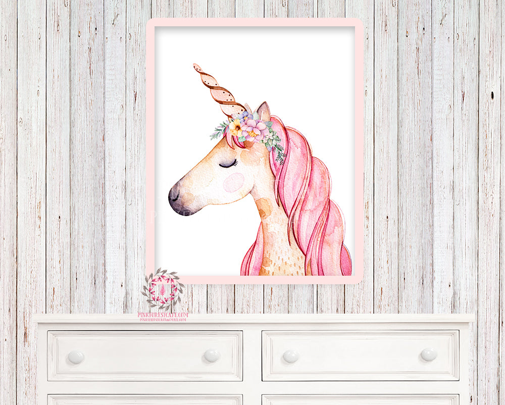 Unicorn Sleeping Face Printable Wall Art Print Baby Girl Nursery Boho Watercolor Poster Room Decor