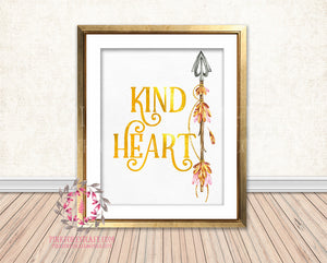 Kind Heart Gold Foil Boho Tribal Arrow Nursery Baby Girl Room Printable Print Wall Decor