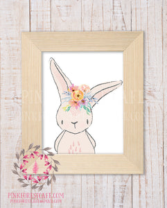 Bunny Rabbit Watercolor Illustration Floral Flower Wreath Baby Girl Woodland Printable Wall Art Nursery Home Decor