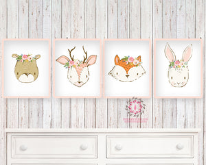 SALE 4 Deer Bear Bunny Rabbit Fox Wall Art Print Woodland Boho Bohemian Floral Nursery Baby Girl Room Set Lot Prints Printable Decor