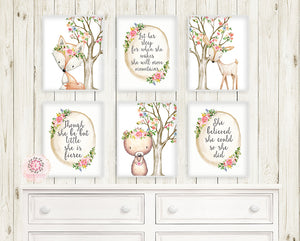 6 Deer Fox Bear Boho Wall Art Print Woodland Bohemian Floral Nursery Blush Pink Baby Girl Room Set Lot Prints Printable Decor