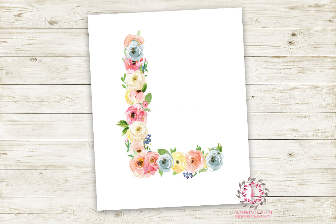 Boho Monogram Initial Personalized Wall Art Print Watercolor Floral Shabby Chic Baby Nursery Printable Decor