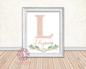 Boho Baby Name Monogram Initial Nursery Wall Art Print Personalized Birth Announcement Baby Gift Watercolor Woodland Watercolor Floral Rustic Baby Decor Printable