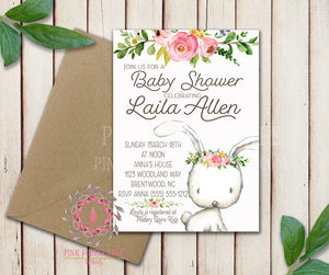 Woodland Bunny Rabbit Invite Invitation Baby Shower Boho Floral Watercolor Birth Announcement Printable
