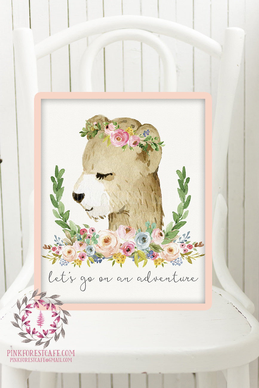 Boho Bear Woodland Animal Printable Print Wall Art Let's Go On An Adventure Watercolor Baby Girl Nursery Watercolor Floral Decor